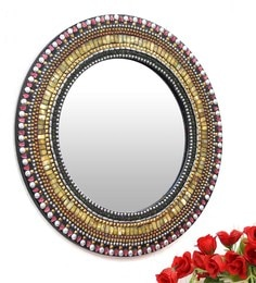 Multicolour Glass And MDF Round Mosaic Mirror - 1618970