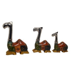 Multicolour Iron & Wood Hand Painted Decorative Sitting Camel - Set Of 3