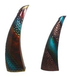 Multicolour Iron Handmade Decorative Horn Flower Vases - Set Of 2