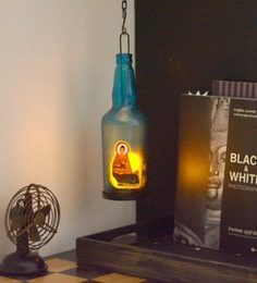 Multicolour Metal & Glass Blur Bottle Mudra Buddha Tea Light Holder