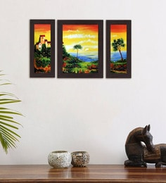 Multicolour Palm Trees On Beach Set Of 3 Framed Wall Art Painting
