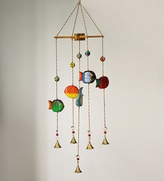 Multicolour Steam Beech Wood Fish Decorative Hanging Bells & Chimes