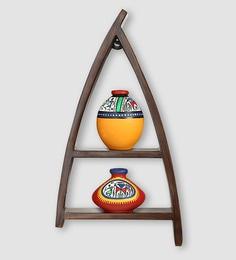 Multicolour Teak Wood & Terracotta Wall Shelf With Handpainted Pots