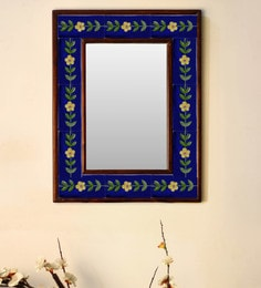 Multicolour Wood & Ceramic Mirror By Neerja Blue Pottery - 1658806
