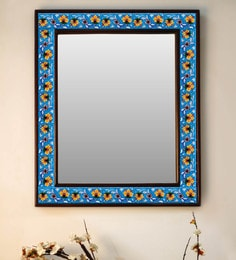 Multicolour Wood & Ceramic Mirror By Neerja Blue Pottery - 1658822