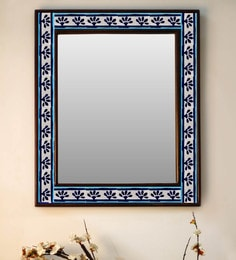 Multicolour Wood & Ceramic Mirror By Neerja Blue Pottery - 1658825