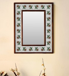 Multicolour Wood & Ceramic Mirror By Neerja Blue Pottery - 1658802