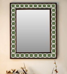 Multicolour Wood & Ceramic Mirror By Neerja Blue Pottery - 1658826