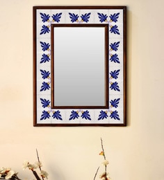 Multicolour Wood & Ceramic Mirror By Neerja Blue Pottery - 1658796