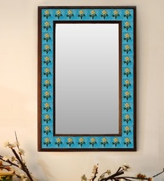 Multicolour Wood & Ceramic Mirror By Neerja Blue Pottery