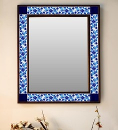 Multicolour Wood & Ceramic Mirror By Neerja Blue Pottery - 1658817