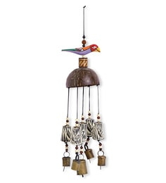 Multicolour Wood & Copper Handmade & Hand-Painted Bird Wind Chime With Kutchh Bells