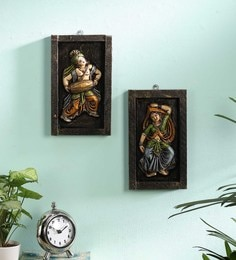 Multicolour Wood And Metal  Wall Hanging Idol