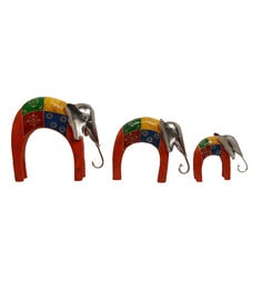 Multicolour Wood Hand Painted Decorative Half Round Elephant - Set Of 3
