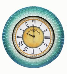 Multicolour Wooden Elegant Blue Textured Vintage Wall Clock