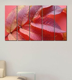 999Store Red Leaves Multicolour Sun Boardpainting Set Of 5 at pepperfry