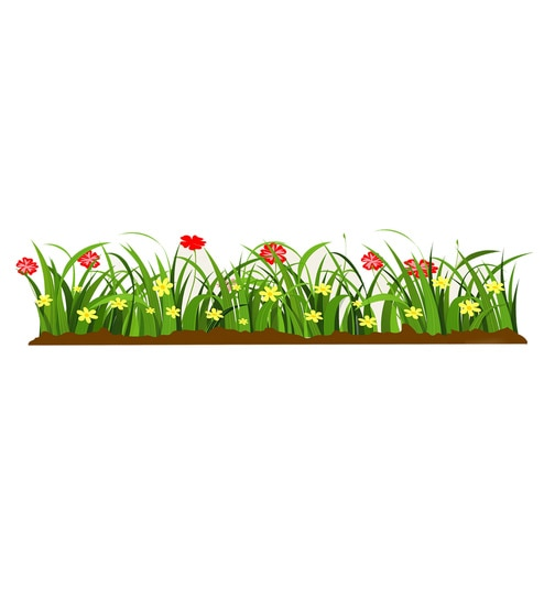 buy multicolour pvc vinyl green grass red flowers wall sticker