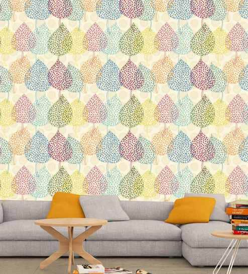 Multicolour Vinyl Paper Color Vintage Leaf Self Adhesive Wallpaper With Matte Finish By Printmyspace