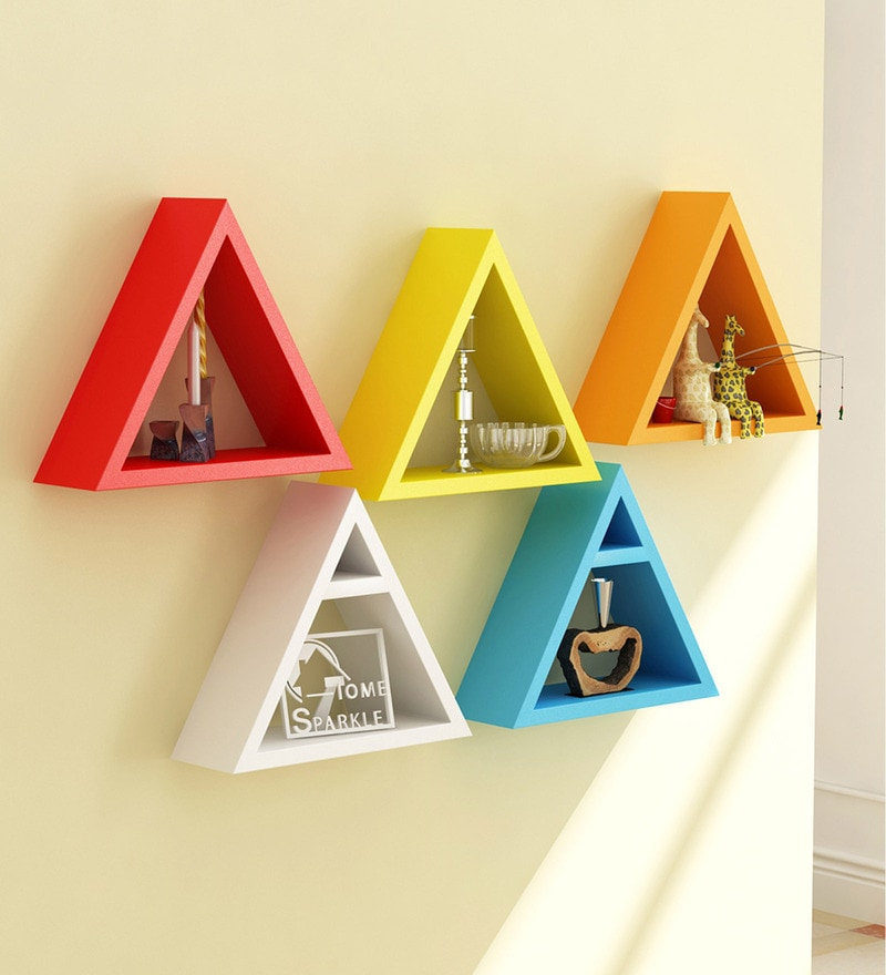 Multicolor Engineered Wood 5 Triangular Shelves - Set of 5 By Home Sparkle