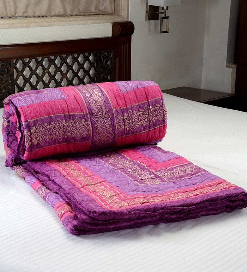 Multicolour 100% Cotton Blanket & Quilt by Jodhaa