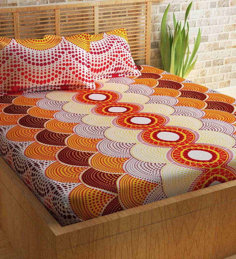 Buy Essentials Abstract Pattern 144TC Cotton Queen Size Bed