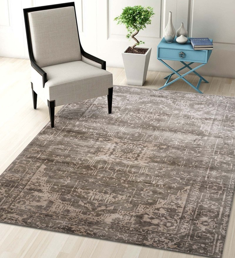 Multicolour 100% Viscose 63.6 x 91.2 Inch Hand-Loom Digital Printed Carpet by Designs View