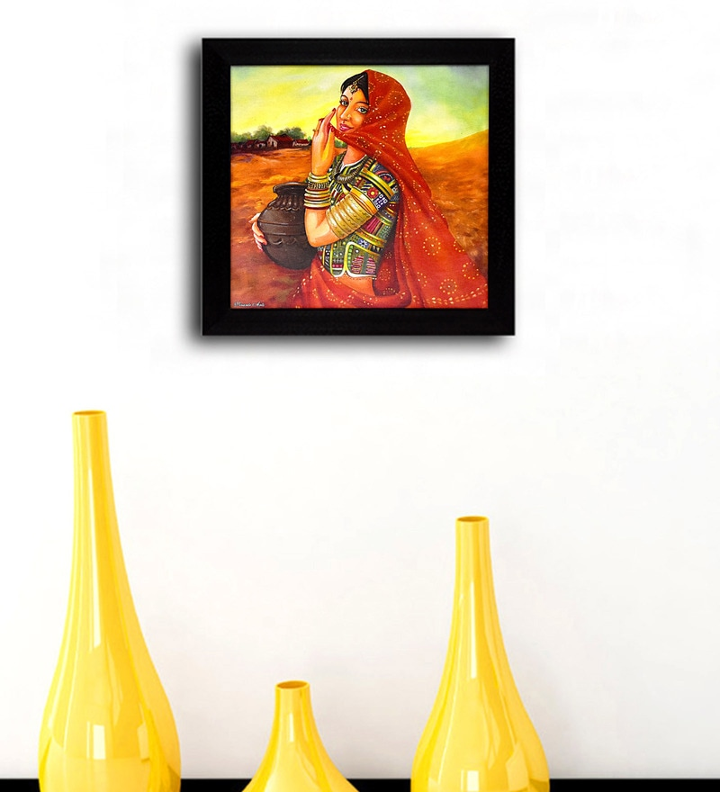 Multicolour 11.5x1x11.5 Inch a Village Girl Framed Wall Art by Gallery99
