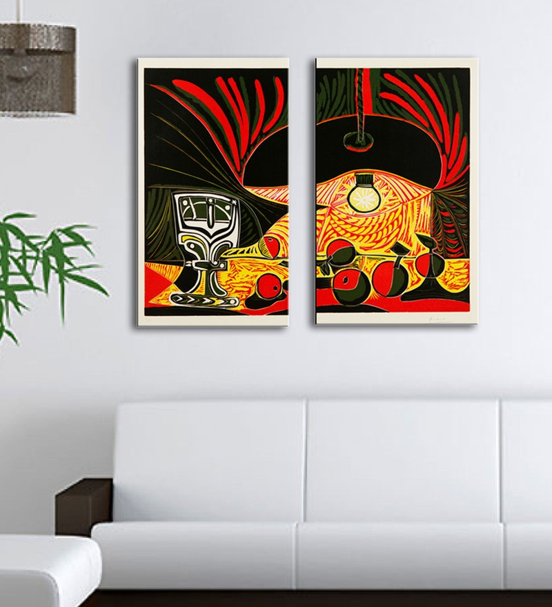 Multicolour 16 x 0.5 x 24 Inch Canvas Pablo Picasso Art Panels-Set of 2 by Tallenge