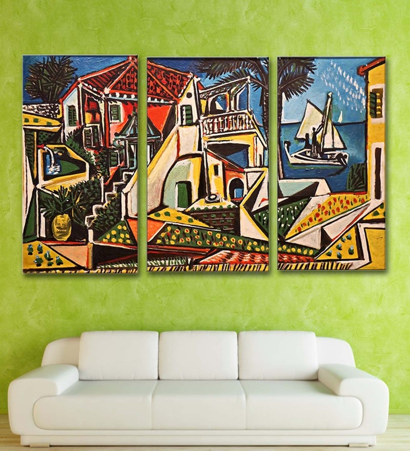 Multicolour 16 x 0.5 x 24 Inch Canvas Pablo Picasso Mediterranean Landscape Art Panels-Set of 3 by Tallenge
