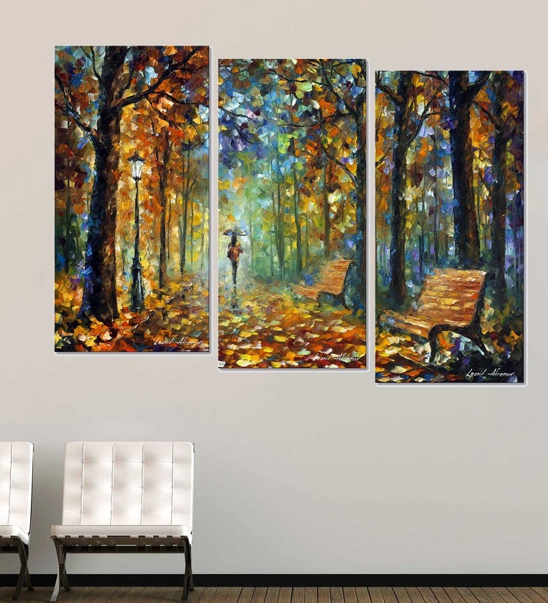 Multicolour 18 x 0.5 x 30 Inch Canvas Contemporary Walk in The Park Art Panels-Set of 3 by Tallenge