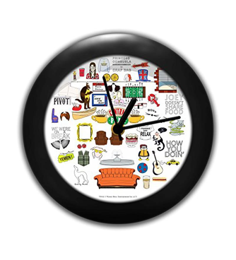 Multicolour ABS Plastic 6 x 1.9 x 6 Inch Official Friends TV Series Doodle Desk Clock by MC SID RAZZ