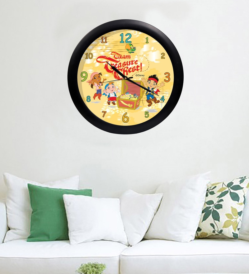 Multicolour Acrylic & Glass 10 x 2 x 10 Inch Jake & Neverland Digital Printed Wall Clock by Orka