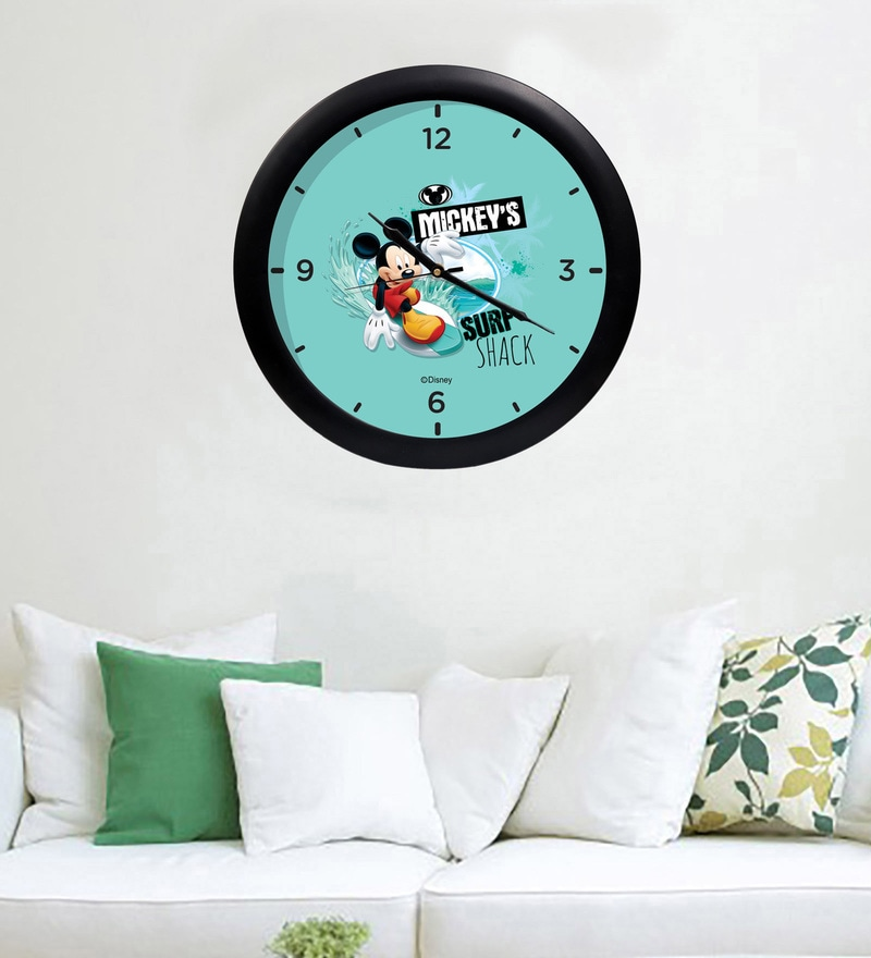 Multicolour Acrylic & Glass 10 x 2 x 10 Inch Mickey Surf Shake Digital Printed Wall Clock by Orka