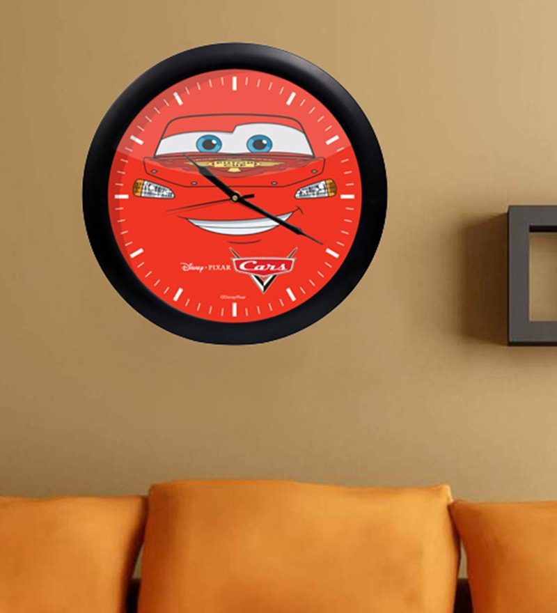 Multicolour Acrylic & Glass 10 x 2 x 10 Inch Pixar Cars Digital Printed Wall Clock by Orka