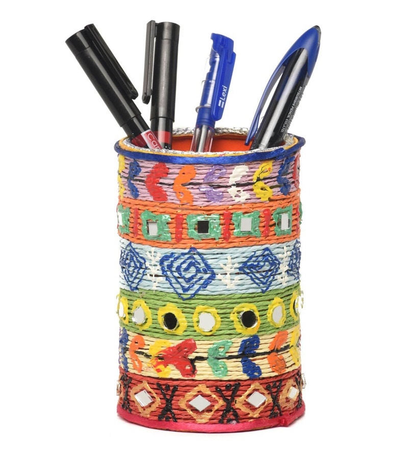 Multicolour Aluminium Hand Made & Painted Traditional Pen Stand by Rooh