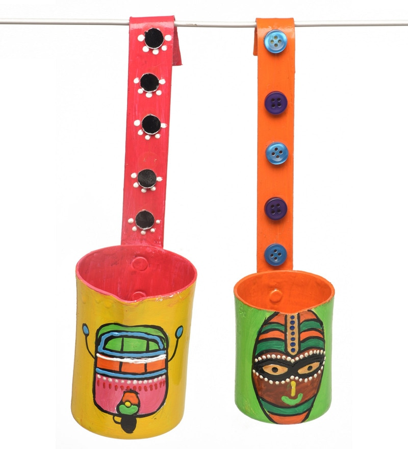 Multicolour Aluminium Hand Made & Painted Wall Hangings by Rooh - Set of 2