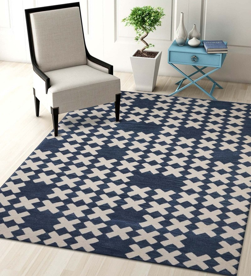 Multicolour Blended Wool 60 x 96 Inch Cross Design Hand Tufted Carpet by Designs View