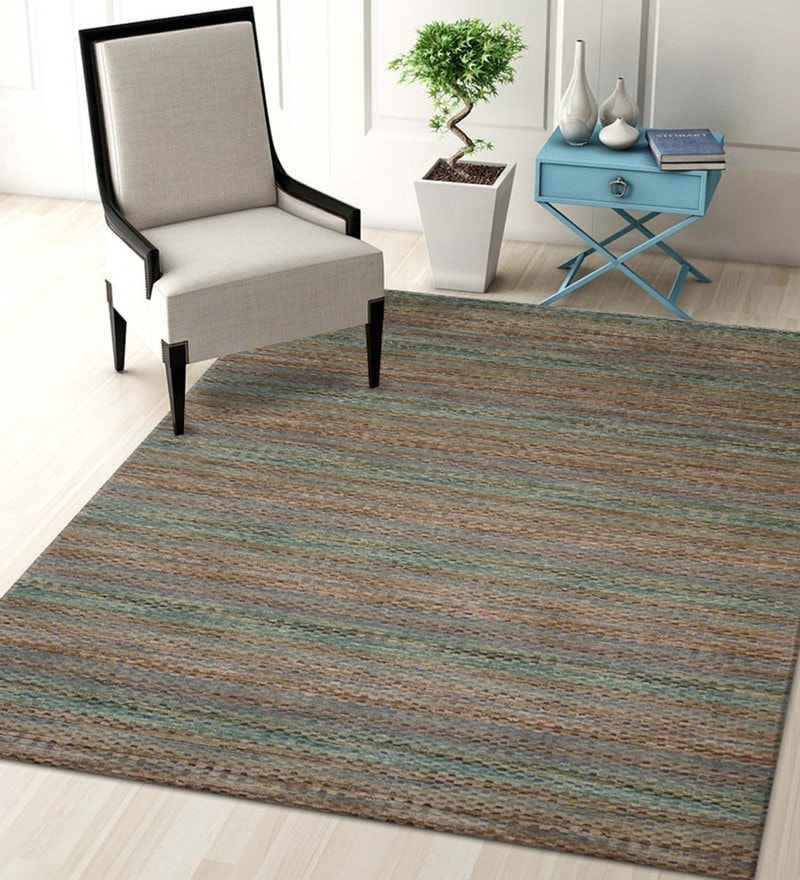 Multicolour Blended Wool 60 x 96 Inch Hand-Loom Texture Solid Color Carpet by Designs View