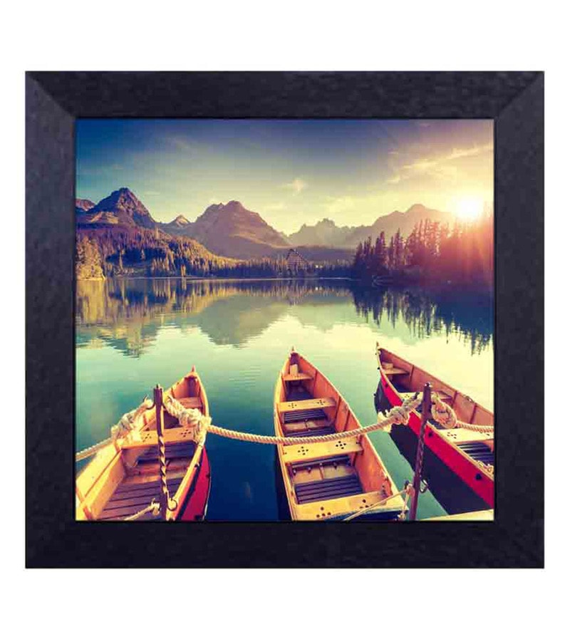 Multicolour Canvas Cloth Boats & The Mountains Digital Art Print by Decor Design