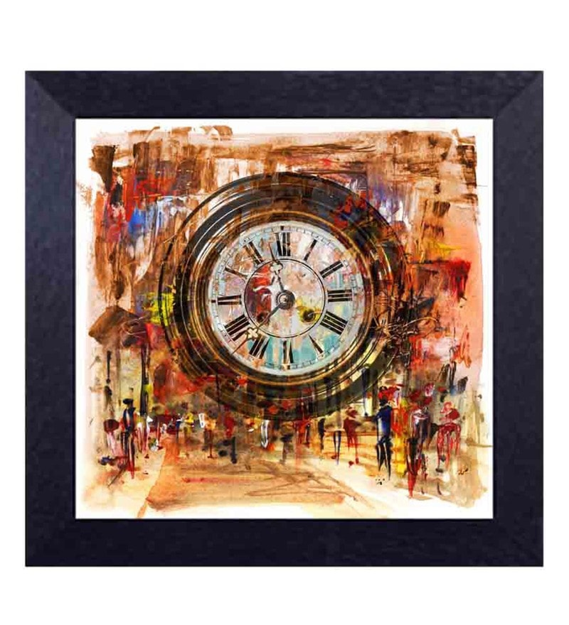 Multicolour Canvas Cloth Circular Wall Clock Showing Time & Emotions of People Digital Art Print by Decor Design