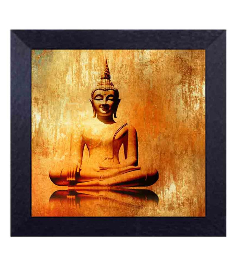 Multicolour Canvas Cloth Sitting Gautam Buddha Digital Art Print by Decor Design