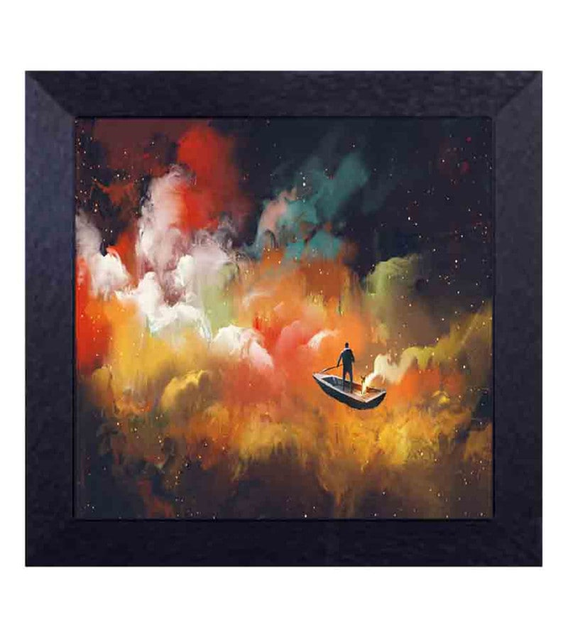 Multicolour Canvas Cloth Storm & Boat Digital Art Print by Decor Design