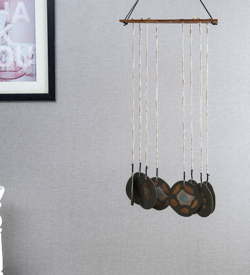 Multicolour Ceramic Flower 8 Wings Wind Chime by Unravel India
