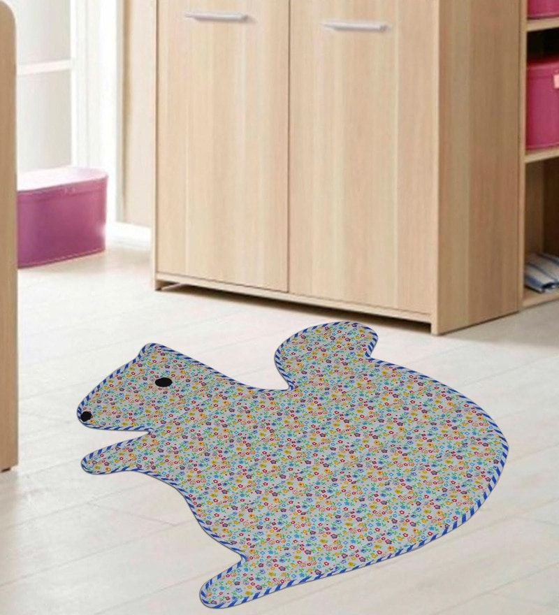 Multicolour Cotton 30 x 26 Inch Squral Shaped Attractive Mat by Creative Textiles