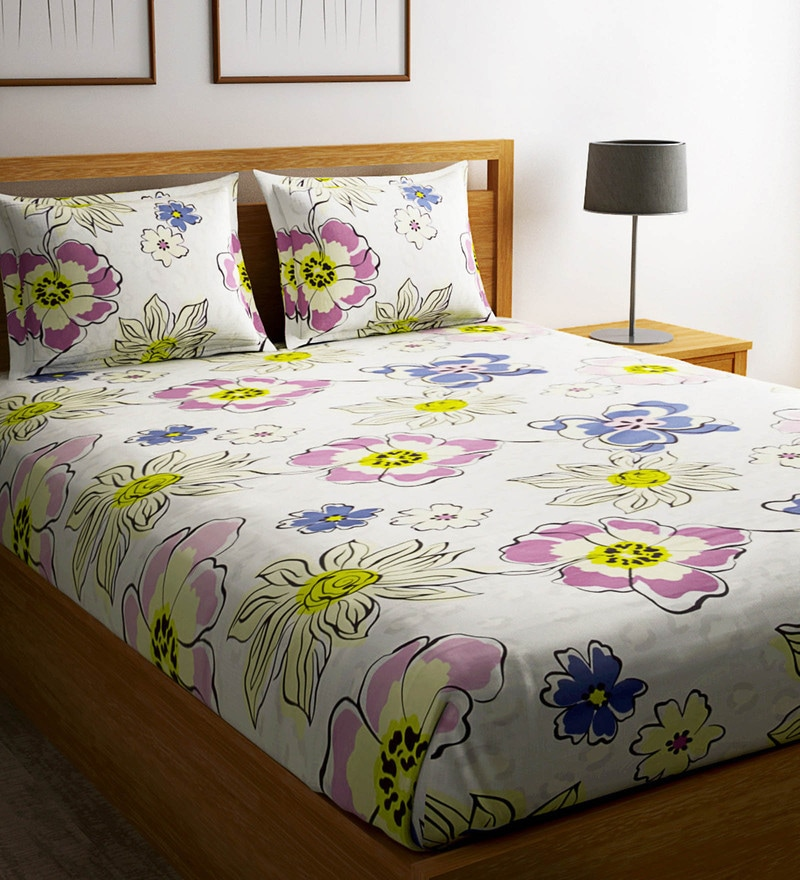 Multicolour Cotton 90 x 100 Inch Memento Bedsheet - Set of 3 by Raymond Home