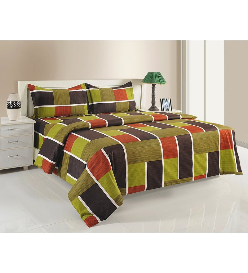 Multicolour Cotton King Size Bedding Set - Set of 4 by Swayam