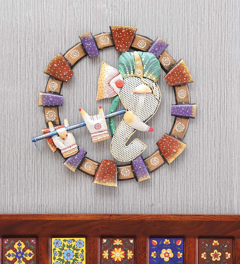Multicolour Iron Gajanand Wall Hanging For D Cor By