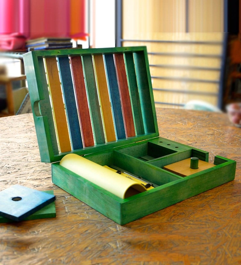 Multicolour Mango Wood Table Top Organiser by ExclusiveLane