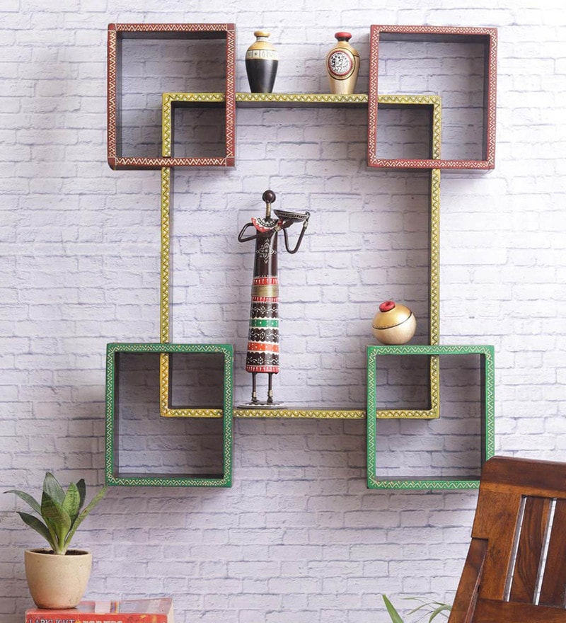 Multicolour Mango Wood Wall Shelves by VarEesha - Set of 5