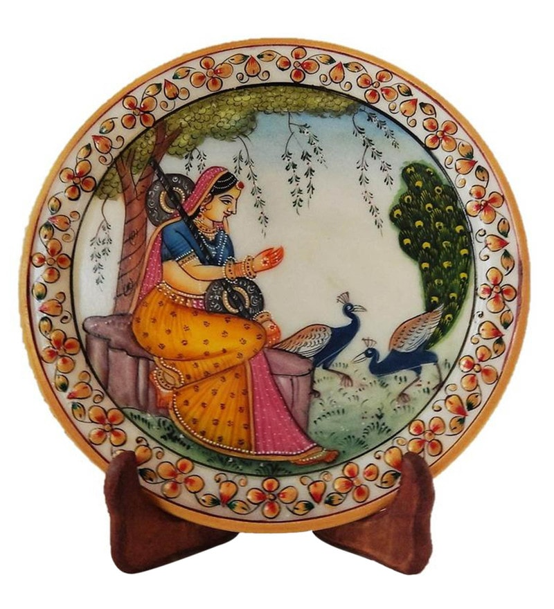 Multicolour Marble Lady & Peacock Showpiece Plate with Stand by Devi Handicrafts